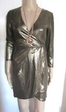 NWT GOLD MATALIC LINED WRAP STYLE DRESS SIZE 10 NEW LOOK