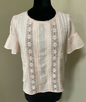 VELVET By Graham & Spencer Sheri Cotton Lace Inset Blouse Top Pink Small S $139