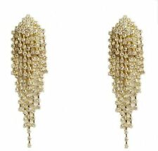 Goldtone with Clear Iced Out Dangling Strands 4 Inch Clip on Earrings