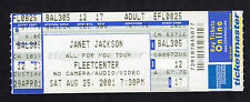 Original 2001 Janet Jackson unbenutzt voll Konzert Ticket Alles für Sie Tour Boston