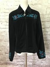 Cripple Creek Womens Size S Black Velvet Embroidery Turquoise Zip Front Jacket