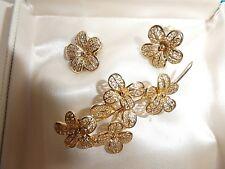Vintage Gold Plated Sterling Silver Filagree Brooch Earrings Set signed Birks