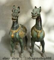 """13,6"""" Ancien Chine Bronze Zodiaque Animal Cheval De Guerre Succès Statue Paire"""