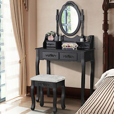 Black Dressing Table Vanity Makeup Desk with 4 Drawers, Mirror Set & Stool