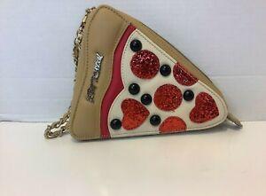 Betsey Johnson Pizza Slice Chain Zip Wristlet Clutch Purse Glitter
