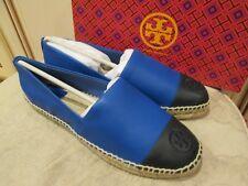 f2e199eb649f9b new TORY BURCH women s designer LEATHER BLACK BLUE espadrilles shoes Sz 9.5