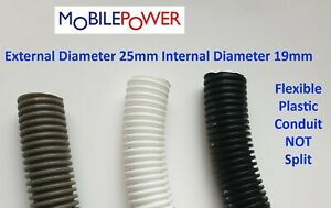 25mm Black White or Gray flexible plastic conduit by the metre NOT split