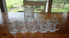 Crystal Coffee Mugs in Antique pattern by Cristal D'Arques USA 6 10 oz handled