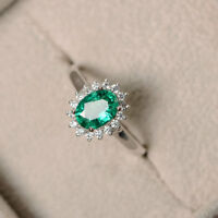 1.80 Ct Oval Cut Emerald Diamond Wedding Ring 14K Solid White Gold Size M N