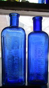 New York Pharmacal Association Lactopeptine COBALT BLUE 2 diff medicine bottles