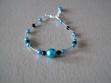 Bracelet bleu turquoise/noir p robe de Mariée/Mariage/Soirée, perles (pas cher)
