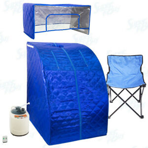 Blue Portable Therapeutic Personal Steam Sauna Spa Room Headcover and Herb Box