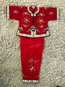 Chinese Antique Reproduction Silk Embroidery Children Robe & Pant Set  #MD379