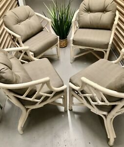 SALE! 4 Vintage Chinese Chippendale Rattan Accent Chairs Wicker by Henry Link