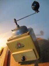 Vintage beechwood coffee grinder/mill made by Peter Dienes (Pe De) in Germany.
