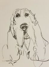 JOSE TRUJILLO Original Charcoal FAUVISM Paper Sketch Drawing 9X12 DOG PUPPY