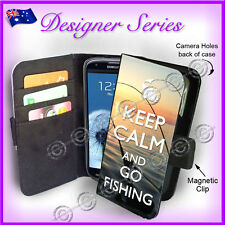 Samsung Galaxy S3 Wallet Flip Card Case Keep Calm and Go Fishing 75 Mens