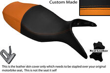 BLACK & ORANGE CUSTOM FITS BMW R 1100 S 98-05 DUAL LEATHER SEAT COVER ONLY