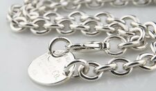 "Tiffany & Co.argento sterling "" Return to "" OVALE TARGHETTA COLLANA 39.4cm"