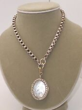 Large Antique Victorian Silver Etched Double Sided Locket W/ Bold Book Chain