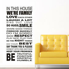 Family House Rules III wall stickers Decal Removable Art Vinyl Decor Home Kids A