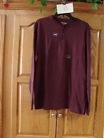 NEW MENS ST JOHNS BAY WINE  SUEDED HENLEY LONG SLEEVE SHIRT SIZE SMALL