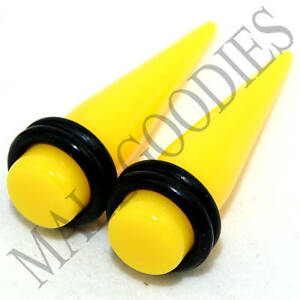 V040 Acrylic Yellow Stretchers Tapers Expanders Ear Plugs 8 6 4 2 0 00 G Gauges