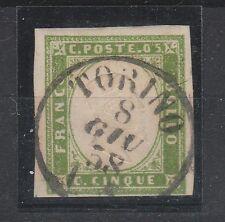 FRANCOBOLLI 1858 SARDEGNA 5 C. VERDE GIALLO CHIARO TORINO 8/6 C/6731