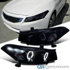 For Honda 08-12 Accord LED DRL Halo Glossy Black Projector Headlights Left+Right