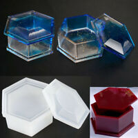Silicone Hexagon Jewellery Storage Box Mold Resin Casting Mould DIY Craft
