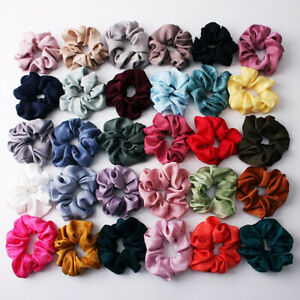 Soft Silky Satin Solid Hair Scrunchies Elastic Hair Bands Ponytail Hair Tie Rope