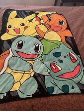 Vtg Pokemon Group Go Pikachu Fleece Throw Gift Blanket Bulbasaur Charmander Soft