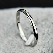 Women Silver Finger Ring Thin Band Silver Titanium Steel Size 8 Fashion Jewelry