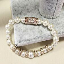 18K Rose Gold Plated Simulated Pearl & Diamond Small Rings Strand Bracelet