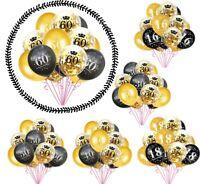 15pcs Happy Birthday Latex Balloon Clear Confetti 16th/18th/30th/60th Baloons