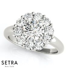 1.25 ct Diamond Halo Engagement Ring 18k Gold