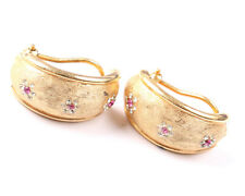 BSK Vintage 1960s Gold Tone Earrings with Clear and Pink Rhinestones