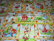 Spring time buny orange flowers fabric material sewing pictures 84x44 in Easter