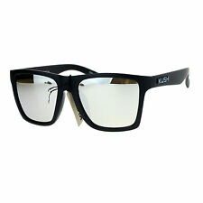 Kush Mens Color Mirrored Lens Matte Frame Rectangular Sport Horn Rim Sunglasses
