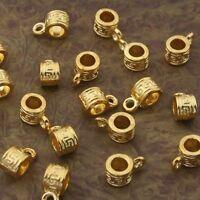 30pcs gold-tone pattern bail charms beads h2000-G