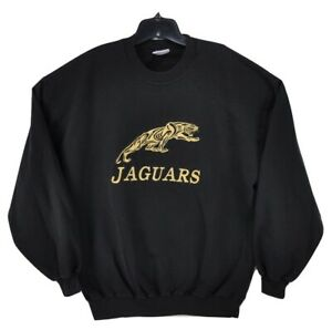 NEW Vintage Jacksonville Jaguars Jerzees Russell Sweater Black XL Gold Embroider