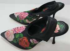 Dolce & Gabbana Rose-Print Slingback Pumps Shoes heels
