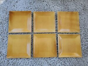 "Lot set 6 Pier 1 SPICE ROUTE GINGER Square Dinner plates 10.5"" Yellow Gold  Exc"