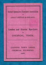 1908 CANNING TOWN LODGE CHEMICAL PLUMBERS UNION CARD BYE-LAWS OF CHEMICAL TRADE