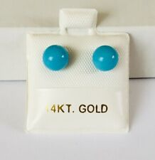 14K Yellow Gold Natural Turquoise 5.9 - 6 mm Round Ball Stud Earrings NEW