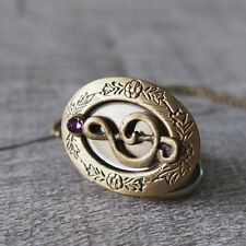 Purple CZ Musical Note Oval Brass Bronze Picture Photo Locket Pendant Necklace
