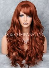 STRIKING Long Wavy Curly with bangs Copper Red Layered Stunning Full Wig win 130