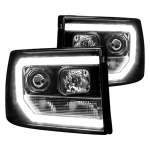 Recon Black/Smoke LED DRL Bar Halo Projector Headlights for 07-13 Sierra 2nd GEN