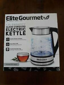 ELITE GOURMET 1.7L GLASS CORDLESS ELECTRIC KETTLE #EKT-602 BRAND NEW FREE SHIP