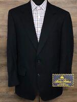 Brooks Brothers Makers Brooksease Men Wool Navy Blue Blazer SportCoat Jacket 40S